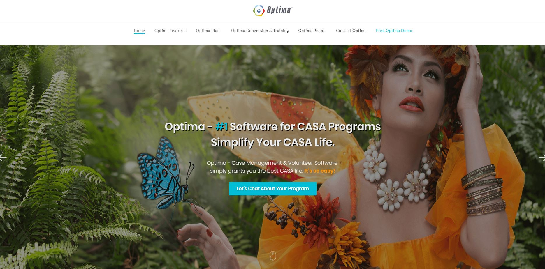 website design example for Optima CASA software by Evinto Solutions in Queen Creek Arizona